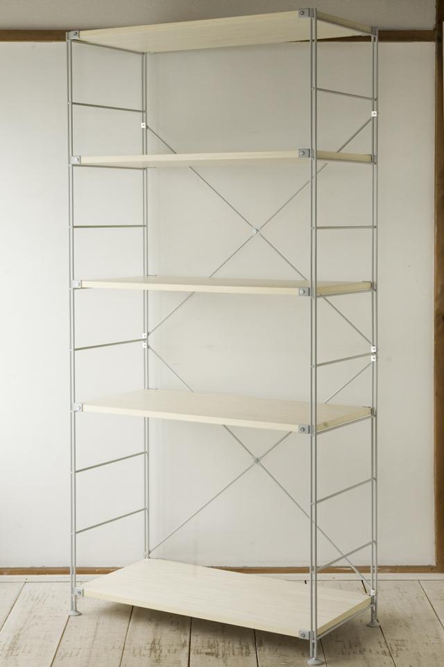 無印良品の「スチールユニットシェルフ・木製棚セット・ワイド大・グレー」-01