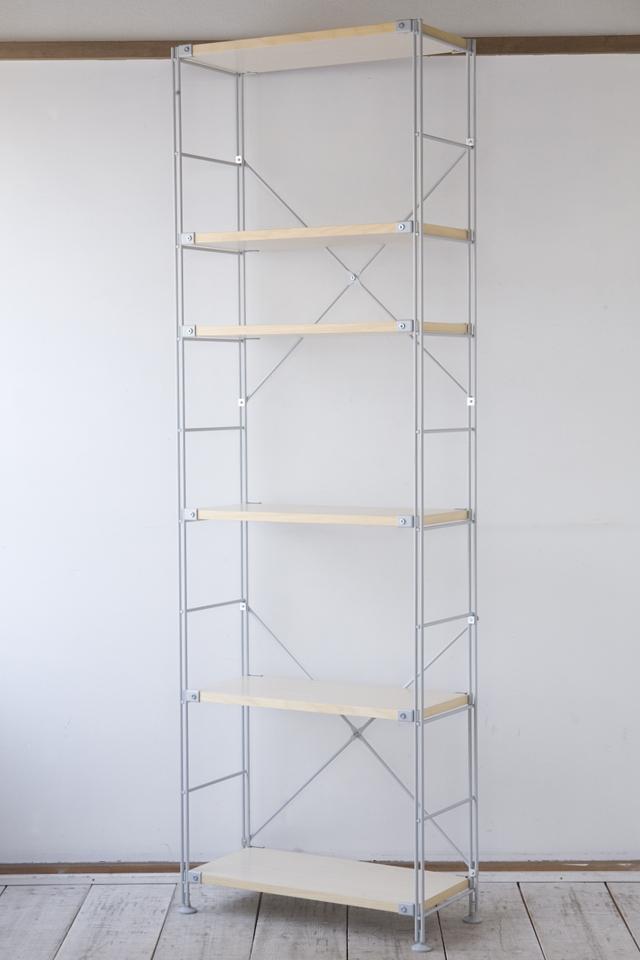 無印良品の「スチールユニットシェルフ奥行き25cmタイプ・木製棚6枚セット・大・グレー」-01