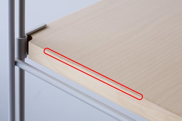 無印良品の「スチールユニットシェルフ奥行き25cmタイプ・木製棚6枚セット・大・グレー」-04a