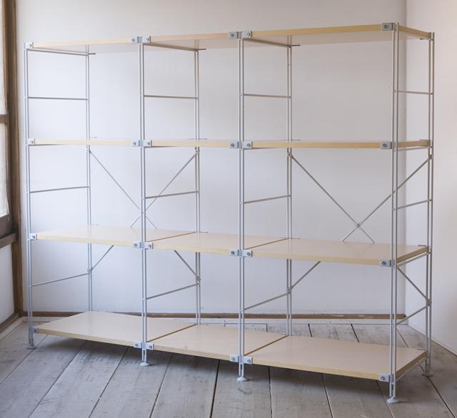 無印良品の「スチールユニットシェルフ・木製棚4段セット」-01