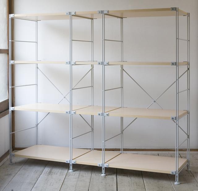 無印良品の「スチールユニットシェルフ・木製棚セット4段」-01