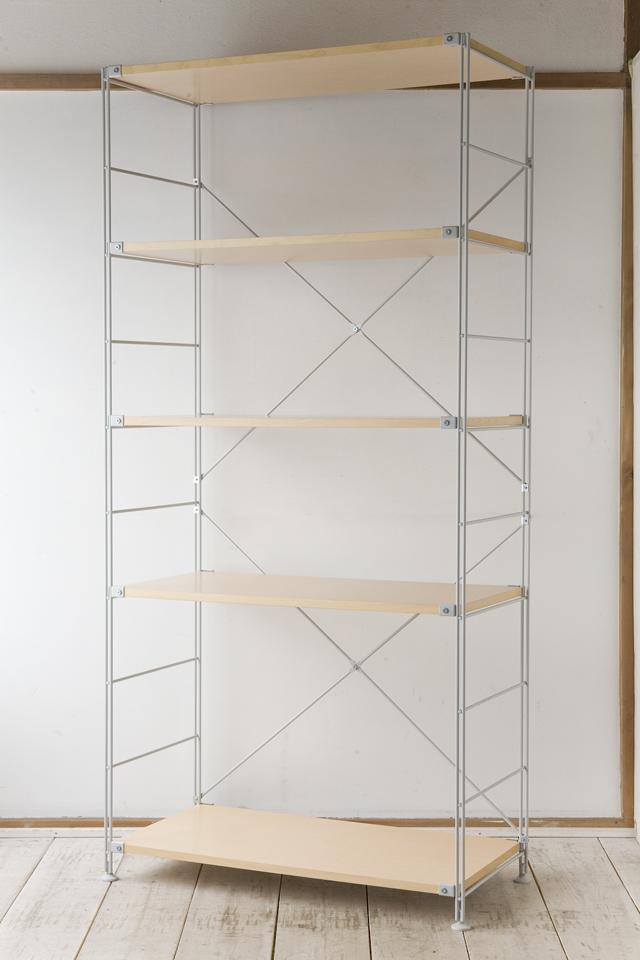 無印良品「スチールユニットシェルフ・木製棚セット・ワイド大・グレー」-01